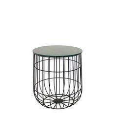 Čierny kovový stolík s mramorovou doskou  HF Living Birdcage mini