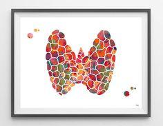 Glándula tiroides anatomía grabado acuarela arte cartel