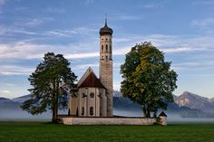 thegermanophileblog:    Church (by Vitality.Name)      Schwangau, view of St Coloman's Sanctuary, Bavaria, Germany