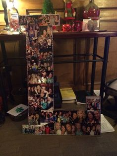 Crafty birthday present L shaped picture collage made from cork board and thin wood for support 4x4 Wood Crafts, Cork Crafts, Diy Crafts, Old Wood Projects, Projects To Try, Weather Wood Diy, Picture On Wood, Picture Boards, Picture Frame