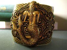Vintage Oxidized brass mermaid art nouveau bracelet/cuff...I love this!
