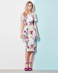 Lace Trim Shift Dress | Oxendales Short Sleeve Dresses, Dresses With Sleeves, Short Sleeves, Evening Dresses Plus Size, Plus Size Dresses, Scuba Fabric, Lace Sleeves, Pretty Dresses, Plus Size Women