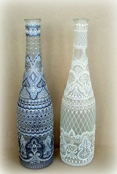Art Tutorial - painted glass bottles - step by step pics