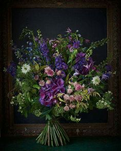 Slightly wild and unstructured composition. Cottage garden feel, with a bold palate of rich purples. Art Floral, Hand Tied Bouquet, Seasonal Flowers, Belle Photo, Flower Decorations, Flower Designs, Flower Art, Planting Flowers, Floral Arrangements