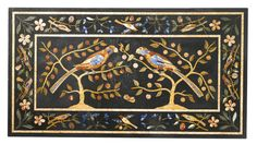 AN ITALIAN PIETRA DURA PANEL 18TH/19TH CENTURY On a later Neoclassical style steel base forming a table