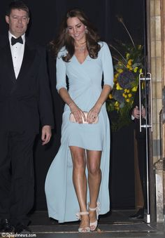 Kate in Jenny Packham 'pale jade' gown worn to Natural History Museum gala Oct 21, 2014