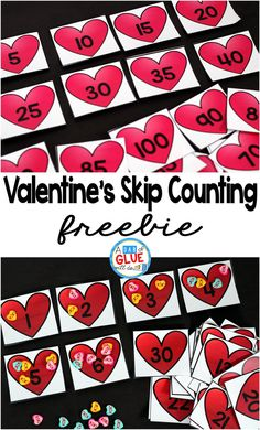 Valentine's Day Skip Counting Math Printable is a fun addition to your math centers. Perfect for math skip counting review! This free printable is perfect for preschool, kindergarten, and first grade students. #ValentinesDay #mathfreebies First Grade Freebies, Kindergarten Freebies, Kindergarten Classroom Games, Preschool Math, Daycare Games, Teaching Math, Teaching Ideas, Classroom Ideas, Valentines Day Activities