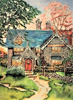 "Colorist Jackie Zoost From Posh Coloring Book "" Peaceful Moments "" with the paintings by Thomas Kinkade. Done with Prismacolor pencils and Bic Fine liners."