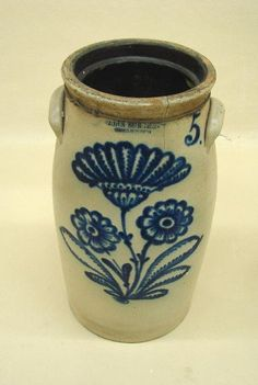 """STONEWARE CHURN. Bold flowers and a """"5"""" in hand brushed, bright cobalt blue. Impressed """"John Burger, Rochester""""."""