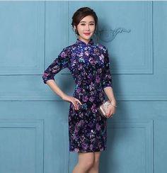 2016 new sexy Chinese Women's velour Mini dress Cheongsam Sz: S M L XL XXL