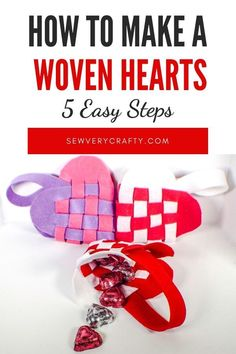 These woven heart pouches are perfect for Valentine's day treats. They are a super no sew simple craft project for kids and adults. Definitely give these a try. They are fun and functional. Diy Projects To Sell, Sewing Projects For Kids, Craft Tutorials, Sewing Tutorials, Craft Ideas, Valentines Day Treats, Kids Valentines, Pdf Sewing Patterns, Sew Simple