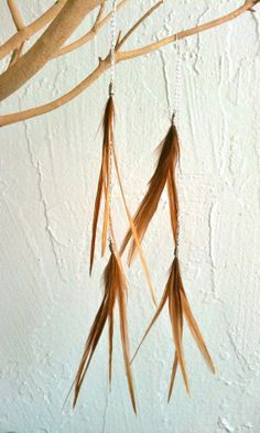 Extra Long Red Feather and Chain Earrings  Style 067 by jessamurph, $32.00
