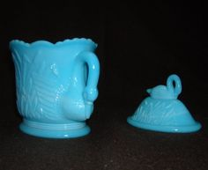 Westmoreland Creamer Swan w Cat Tails. Blue Milk Glass Pitcher & Repaired Lid. Slag. Antique. gmbwcp