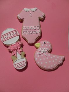 Baby Shower Cookies..like the polka dots on the duck... could do for boy or girl