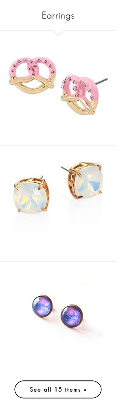 """Earrings"" by dita212 ❤ liked on Polyvore featuring jewelry, earrings, pink, post back earrings, betsey johnson earrings, betsey johnson jewelry, pink jewelry, betsey johnson, tory burch and opal jewelry"
