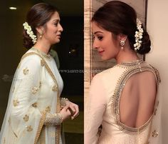Looking for easy hairstyles to try with your anarkali suits? check out 9 easy DIY hairstyle ideas along with videos to perfect your anarkali style. White Anarkali, Anarkali Dress, Simple Anarkali, Bridal Anarkali Suits, Lehenga Choli, Neck Designs For Suits, Dress Neck Designs, Indian Hairstyles, Wedding Hairstyles