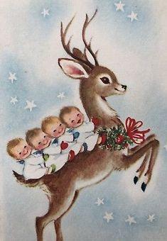 Vintage Gibson Christmas Card Reindeer Baby Babies Child Sky Star Holly Wreath