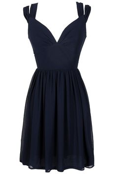 Dual Strap Off Shoulder Chiffon Dress in Navy www.lilyboutique.com