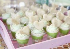 dessert parfaits with heart cookie toppers