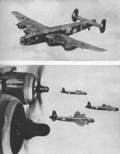 a Halifax heavy bomber in flight and a formation of Sterlings