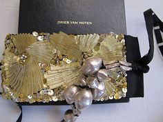 Dries Van Noten Cuff / Bracelet Silver and Gold Sequin Embroidery New with Box