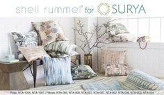 Designs by Shell Rummel for Surya evoke graceful fluidity through a mix of serene, elegant and organic patterns, directly inspired by nature.