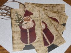 Set of 9 Primitive Christmas Santa Claus Folk Art Hang Tags Gift Ties Ornies #Primitive #SeeDescription