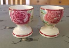 Emma Bridgewater Mary McCarthy Rose Egg Cups (pair) 2003 old rare Mary Mccarthy, Emma Bridgewater Pottery, Egg Cups, Art Object, Perfume Bottles, Objects, Carving, Clay, English