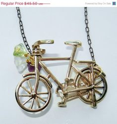 ON SALE Gold and Brass Bicycle Charm Necklace by CloudNineDesignz, $31.85