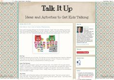 Talk It Up Speech Therapy – Ashley Dyer McGeehon's 'Talk it Up' is another brand new one to watch online. A school-based SLP, her ideas are current, interesting, and engaging. - Pinned by @PediaStaff – Read about all the speech blogs we recommend: http://ht.ly/9HVRX  Please Visit ht.ly/63sNt for all our pediatric therapy pins