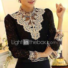 Women's Lace Lace Crochet Black/Beige Blouse,Vintage Stand Collar Long Sleeve 2017 - $9.89