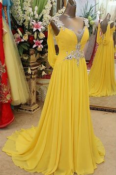 Yellow Prom Dresses, Long Prom Dresses, 2017 Pretty V-neck Long Chiffon Backless Beaded Prom Dresses #longpromdress #beadedpromdress #yellowdresses #eveningdress #dresses