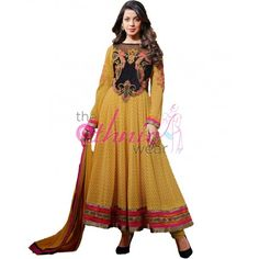 Mugdha Godse Yellow Georgette Bollywood #Anarkali #SalwarKameez #Fashion #AnarkaliSuits #Dress #Clothing