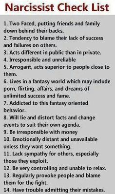 Narcissist Check List