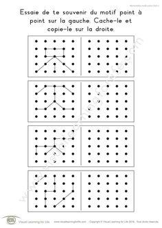 Dans les fiches de travail « Mémorisation motifs points (5x5) » l'élève doit retenir le design point-à-point sur la gauche pour pouvoir le recopier sur la droite, de mémoire.