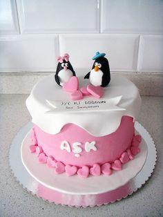 Penguenler Temalı Butik Doğumgünü Pastası.! Sevgililer Günü Pastası.! Penguins Birthday Cake.! Valentines Day Cakes.!