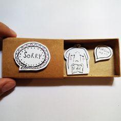 Sorry Forgive me Card Matchbox Gretting Card Gift box by JtranJ