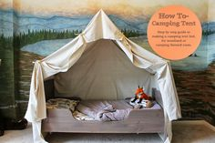 How To- camping tent, tutorial on building a canvas camping tent for woodland, or camping room.  TheRaggedWren.blogspot.com