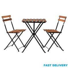 BISTRO FOLDING OUT DOOR GARDEN CHAIR OR TABLE HEAVY DUTY ACACIA WOOD AND METAL