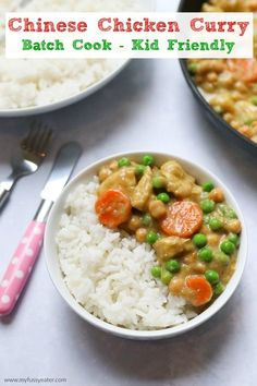 A delicious kid-friendly mild Chinese chicken curry recipe. The perfect family meal and ideal for cooking and storing in the freezer # child friendly # Chicken curry Batch Cooking, Easy Cooking, Healthy Cooking, Cooking Recipes, Crockpot Recipes, Healthy Eating, Chicken And Chickpea Curry, Chicken Curry, Kid Friendly Dinner