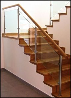 43 Elegant Glass Stair Design Ideas – Decor is art Glass Stairs Design, Wooden Staircase Design, Modern Stair Railing, Balcony Railing Design, Home Stairs Design, Stair Handrail, Staircase Railings, Wooden Staircases, Modern Stairs