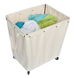 Heavy Duty Rolling Comercial Large Clothes Bin Laundry Bag Canvas Hamper Cart  #Unbranded