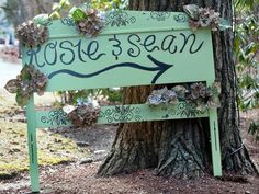 Repurpose an old headboard into a sign directing wedding guests to the ceremony. #countrywedding http://www.gactv.com/gac/photos/article/0,3524,GAC_42725_6075192_01,00.html?soc=pinterest