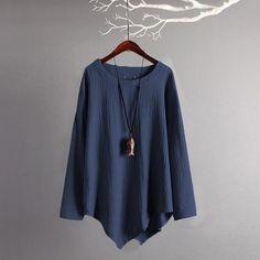 a704fe71e7484 Women Vintage Cotton Linen Blouses 2018 Autumn Long Sleeve Plus  Sizerricdress Linen Blouse