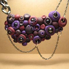 SALE Statement Bib Necklace - OOAK Polymer Clay Jewelry. $40.00, via Etsy.