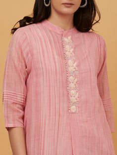 Pink Hand Embroidered Cotton Kurta with Slip Neck Designs For Suits, Sleeves Designs For Dresses, Dress Neck Designs, Sleeve Designs, Blouse Designs, Kurti Sleeves Design, Kurta Neck Design, Hand Embroidery Dress, Kurti Embroidery Design