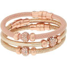 Henri Bendel Triple Leather Bracelet found on Polyvore featuring jewelry, bracelets, beige multi, henri bendel, leather jewelry, leather charm, henri bendel jewelry and leather bangle