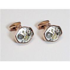 Rose Gold Oval Watch Movement Cufflinks $69.95/pair