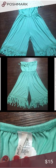 Lily pad Fringe Romper Boho chic Romper. Sea foam green. Fringe detailing. New without tags. Size XL. 67% Polyester/30% Rayon/ 3% Spandex. Excellent condition. Other