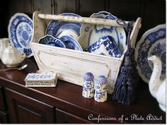 Shabby Tool Box and Blue Dishes.  Love.